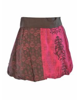 Krátká balonová sukně s potiskem, šedo-růžová, elastický pas