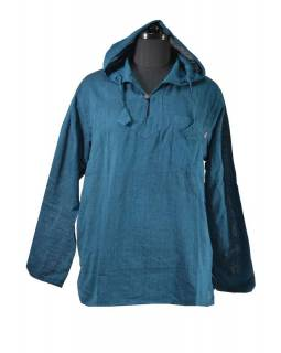 Modrá pánská košile-kurta s dlouhým rukávem a kapucou, měkčené provedení