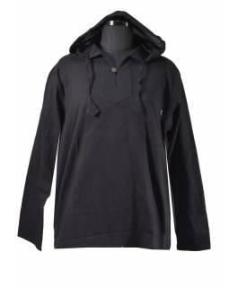 Černá pánská košile-kurta s dlouhým rukávem a kapucou, měkčené provedení