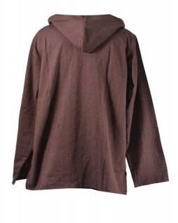 Hnědá pánská košile-kurta s dlouhým rukávem a kapucou, měkčené provedení