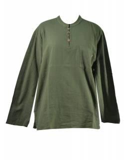 Khaki pánská košile-kurta s dlouhým rukávem a knoflíčky, měkčené provedení