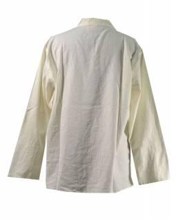 Béžová pánská košile-kurta s dlouhým rukávem a knoflíčky, měkčené provedení
