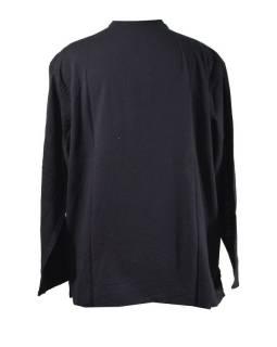 Černá pánská košile-kurta s dlouhým rukávem a knoflíčky, měkčené provedení