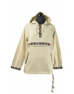 Pánská béžová košile s barevným lemem a kapucou, kapsa na zip