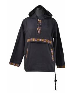 Pánská černá košile s barevným lemem a kapucou, kapsa na zip