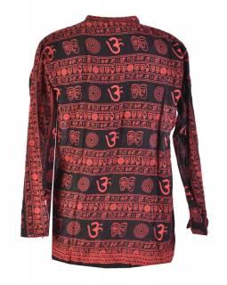 Pánská černo-červená košile s dlouhým rukávem, potisk, knoflíky