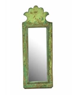 Zrcadlo v rámu z antik dřeva, zelné, 13x36x2cm