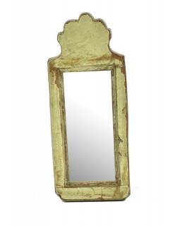 Zrcadlo v rámu z antik dřeva, zelné, 12x31x3cm