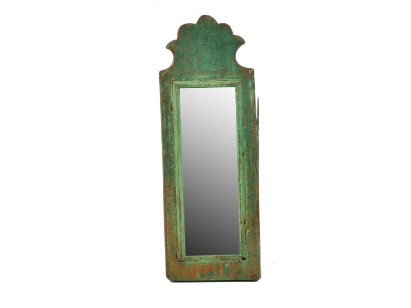 Zrcadlo v rámu z antik dřeva, zelné, 13x35x3cm