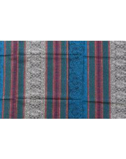 Zeleno-šedý pruhovaný šál se vzorem, 100x200cm