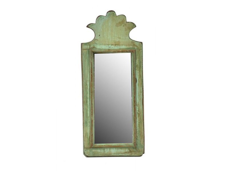 Zrcadlo v rámu z antik dřeva, zelné, 15x34x3cm