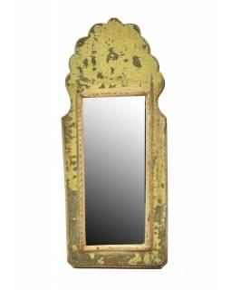 Zrcadlo v rámu z antik dřeva, zelné, 15x35x3cm