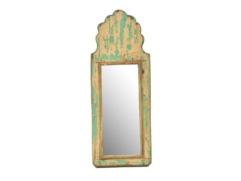 Zrcadlo v rámu z antik dřeva, zelné, 15x39x3cm