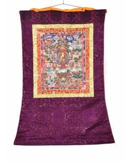 Tanka, život Buddhy, fialový brokát, 55x82cm