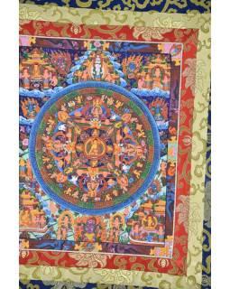 Tanka, Buddha Mandala, modrý brokát, 55x82cm