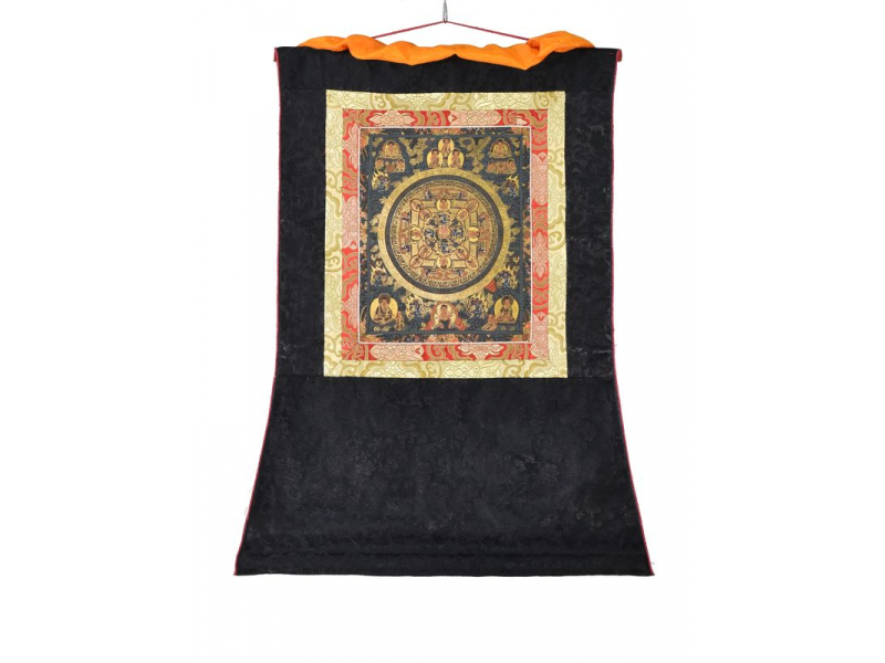 Tanka, Buddha Mandala, černý brokát, 55x82cm