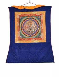 Tanka, Kalachakra Mandala, černý brokát, 55x82cm