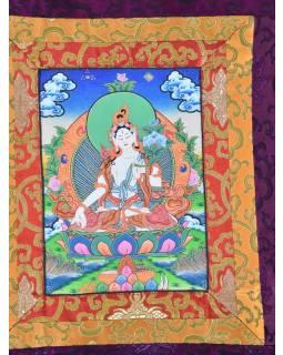 Tanka, Bílá Tara, fialový brokát, 45x70cm