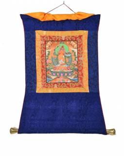 Tanka, Manjushree, modrý brokát, 45x70cm
