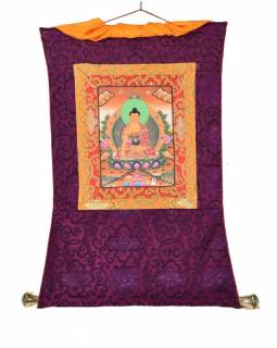 Tanka, Buddha Shakjamuni, fialový brokát, 45x70cm