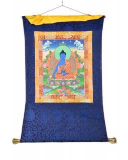 Tanka, Medicine Buddha, modrý brokát, 55x85cm