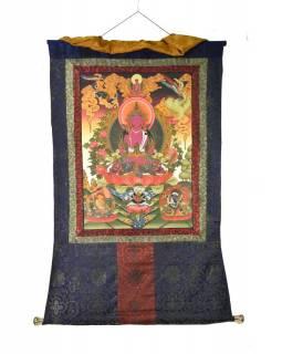 Tanka, Buddha Amitajus, tmavě modrý brokát, 76x120cm