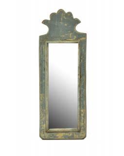 Zrcadlo v rámu z antik dřeva, tyrkysové, 14x38x3cm