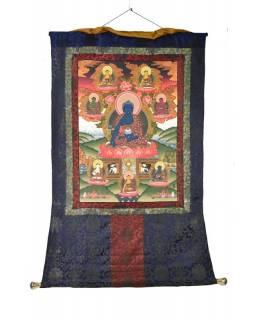 Tanka, Medicine Buddha, tmavě modrý brokát, 76x120cm
