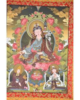 Tanka, Guru Rinpoče, tmavě modrý brokát, 76x120cm