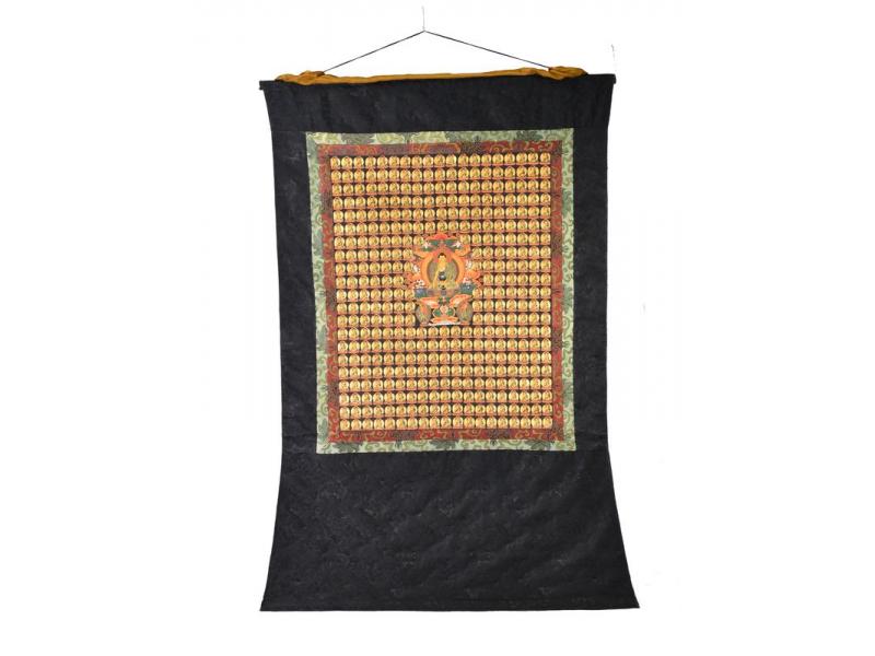 Tanka, 365 Buddhů, černý brokát, 87x133cm