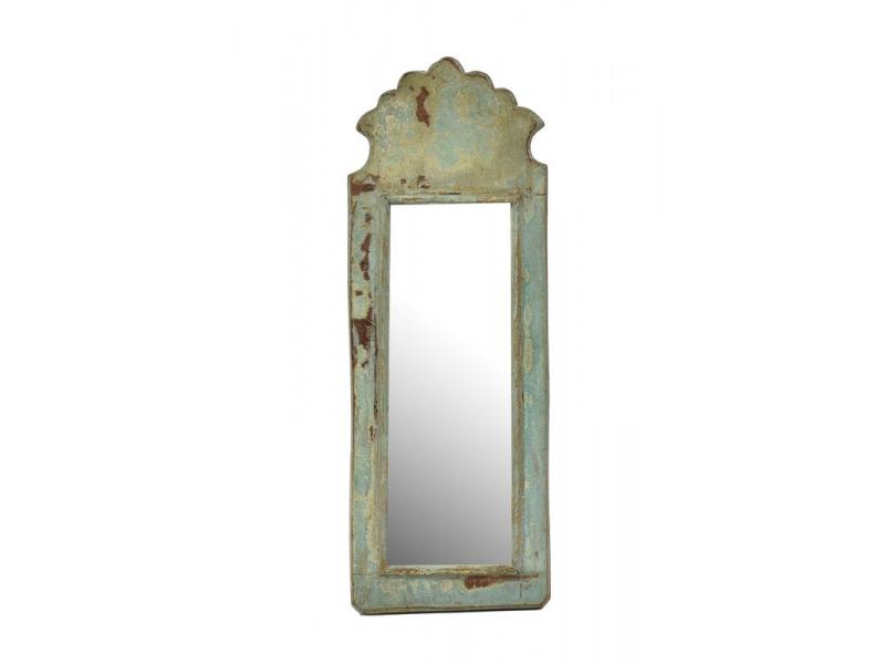 Zrcadlo v rámu z antik dřeva, tyrkysové, 16x43x3cm