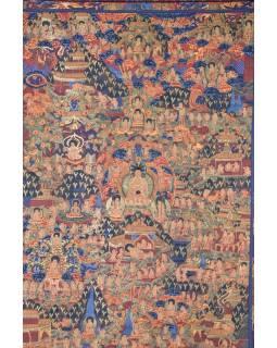Tanka, život Buddhy, černý brokát, 93x142cm