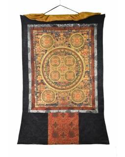 Tanka, Buddha mandala, černý brokát, 93x148cm