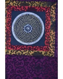 Tanka, Mandala, uprostřed Om, vínový brokát, 49x65cm