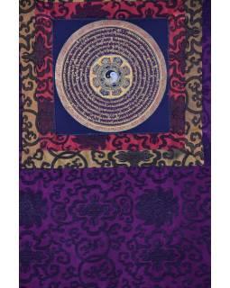 Tanka, Mandala, uprostřed Astamangal, fialový brokát, 49x65cm