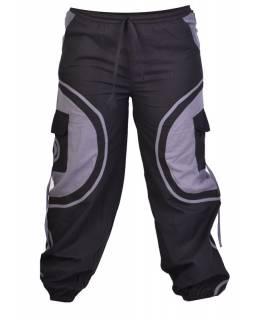 Unisex balonové kalhoty s aplikací spirály a kapsami, černo-šedé