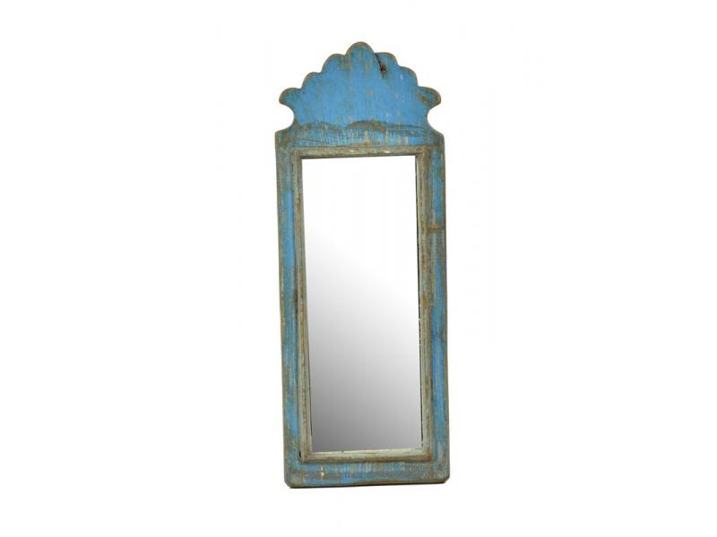 Zrcadlo v rámu z antik dřeva, tyrkysové, 16x41x3cm