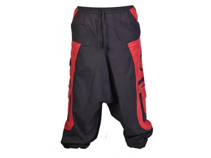 Unisex černo-vínové turecké kalhoty s kapsami, lemování a výšivka