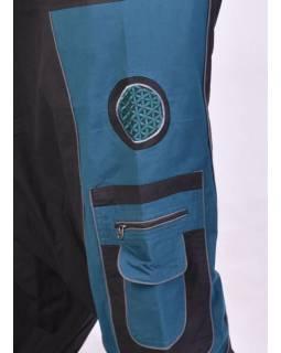 Unisex černo-petrolejové turecké kalhoty s kapsami, lemování a výšivka