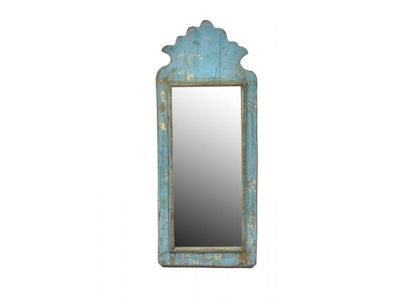 Zrcadlo v rámu z antik dřeva, tyrkysové, 18x44x3cm