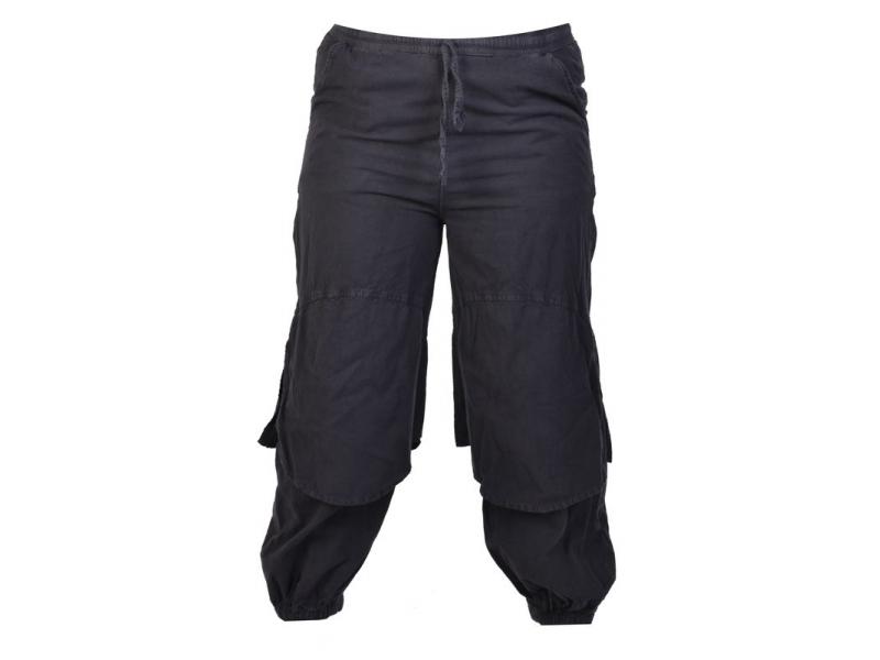 Černé unisex balonové kalhoty s kapsami, pružný pas