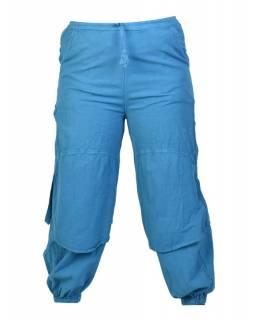 Petrolejové unisex balonové kalhoty s kapsami, pružný pas