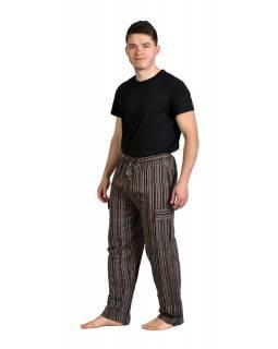 Hnědé pruhované unisex kalhoty s kapsami, elastický pas