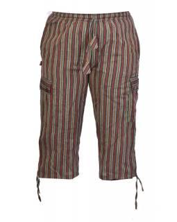 Khaki-červené pruhované tříčtvrteční unisex kalhoty s kapsami, elastický pas