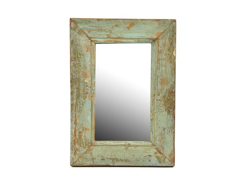 Zrcadlo v rámu z teakového dřeva, tyrkysová patina, 22x31x3cm