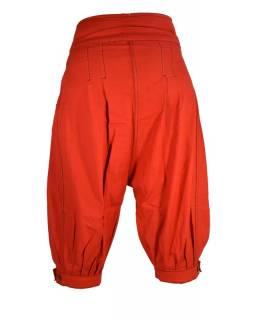 Červené tříčtvrteční turecké kalhoty s černým prošíváním, zip a knoflíky, kaps