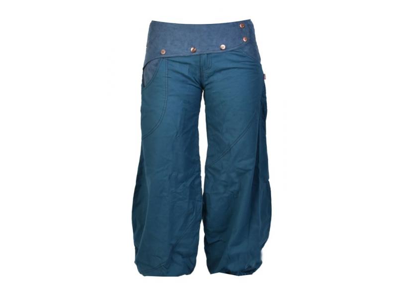 Dlouhé petrolejové balonové kalhoty s manžestrem, zip a knoflíky, výšivka, kapsy