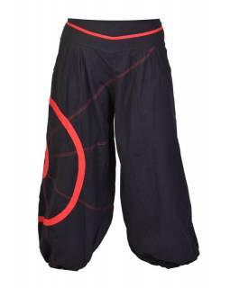 Dlouhé černo-červené balonové kalhoty se spirálou, elastický pas