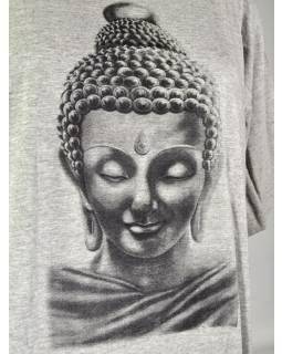 Šedé triko s krátkým rukávem, potisk Buddha