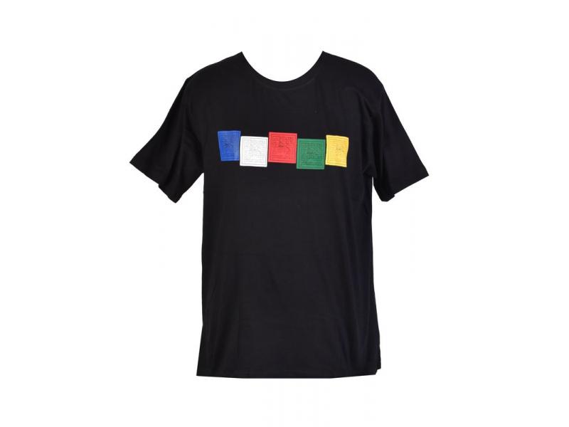 Černé triko s krátkým rukávem, potisk motlitební vlaječky